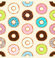 seamless background with colorful donuts vector image