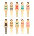 Woman figures in fashionable lingerie flat icons vector image