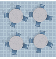 Overhead view of a cafe table with chairs vector image