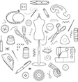 Sewing tools round concept vector image