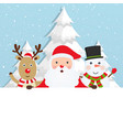 santa claus with reindeer and a snowman vector image