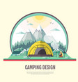 flat design of retro landscape and camping vector image