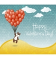 Valentines day card with flying teddy bear vector image vector image