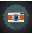 Old Retro Camera Flat Icon with long shadow vector image