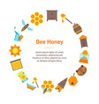 cartoon bee banner card circle vector image