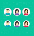 my account icons set flat design of avatar vector image