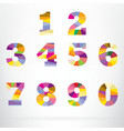 Polygon number alphabet colorful font style vector image