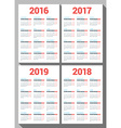 Set of Calendars for 2016 2017 2018 2019 Years on vector image