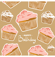 Delicious cupcakes for a birthday vector image