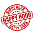 happy hour red grunge round vintage rubber stamp vector image