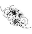 Black and white roses tatto vector image
