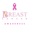 breast cancer awareness poster in pink colors vector image