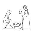 nativity scene with holy family vector image