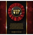 VIP background with realistic fabric award ribbon vector image