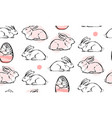 cute white rabbit seamless pattern bunny easter vector image