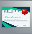 Modern geometric certificate design in blue and vector image