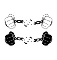 Male hands breaking steel handcuffs Black and vector image