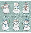Cartoon snowmen set christmas vector image