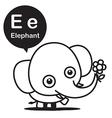 E Elephant cartoon and alphabet for children to vector image