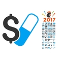 Farma Business Icon With 2017 Year Bonus Symbols vector image