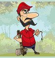 frustrated cartoon lumberjack holding a stone axe vector image