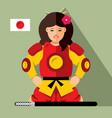 samurai japan flat style colorful cartoon vector image