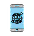 smartphone device with planet vector image
