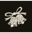 Christmas bells in silver style with flares on vector image