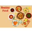 Tasty lunch dishes icon for food theme design vector image
