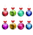 Set of multicolored Christmas balls with red bows vector image vector image