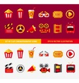 Set of flat cinema icons for online vector image vector image