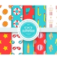 collection set of summer vacation seamless pattern vector image