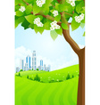 Green Background with Tree and Modern City vector image vector image
