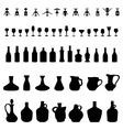 Bowls bottles glasses and corkscrew vector image