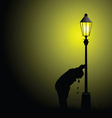 drunk man with street light silhouette vector image