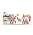 family in supermarket design concept vector image