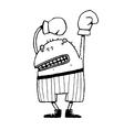 Fun happy boxer monster character winner vector image
