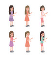 group of girls characters vector image