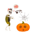 halloween pumpkin lantern skeleton spider web vector image