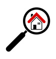 search house icon magnifying glass real estate vector image