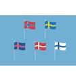 set of nordic europe flags Norway Sweden vector image