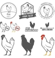Set of vintage chicken meat labels and stamps vector image