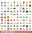 100 travel icons set flat style vector image