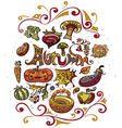 Autumn set of vegetables and fruits vector image