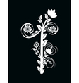 number one made with floral ornament on black vector image vector image