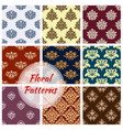pattern of floral damask seamless ornament vector image vector image