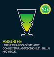 absinthe cocktail card template with price and vector image