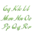 Glossy green alphabet with stripes on white vector image