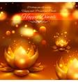 Golden lotus shaped diya on abstract Diwali vector image