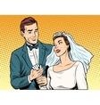 Wedding betrothal engagement groom bride love vector image